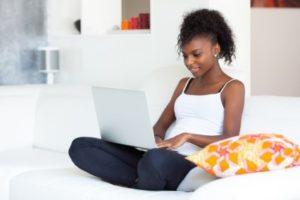 Girl learning virtually